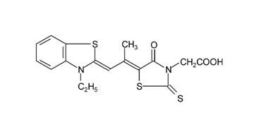 [5-[2-(3-乙基-3H-苯并噻唑-2-亚基)-1-甲基-亚乙基]-4-羰基-2-硫代-噻唑-3-基]乙酸结构式